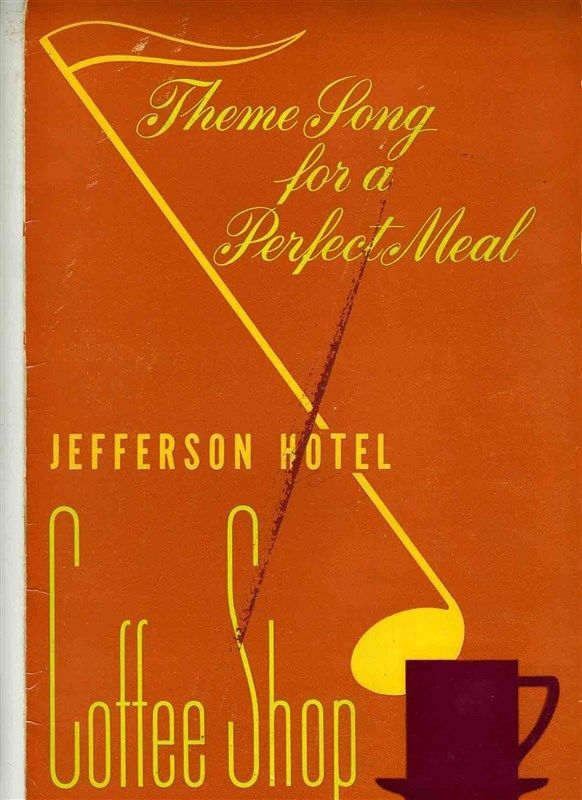 Jefferson Hotel Coffee Shop Menu Ferris Dallas Texas 1950's Musical Murals  | eBay