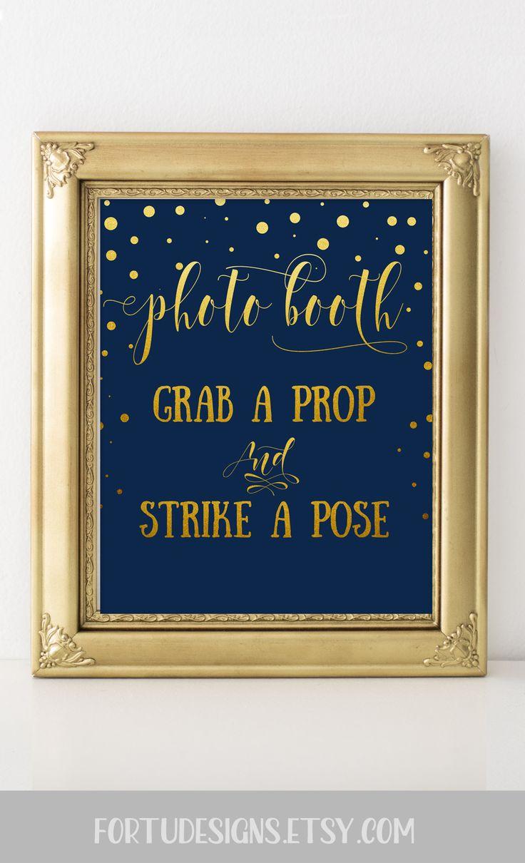 Wedding photobooth sign - Navy and gold wedding signs  #navywedding #goldwedding