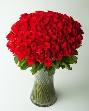Yours Forever (100 roses)  100 stems of the finest long-stemmed red roses in Johannesburg!  Bespoke Bouquet, Flower delivery service, Johannesburg