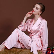 2015new mulheres imitado seda pijamas de luxo sets, manga comprida two-piece marca primavera verão sleepwear roupas casa(China (Mainland))