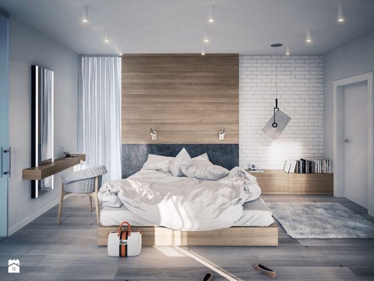 PROJEKT KOMPLEKSOWY DOMU JEDNORODZINNEGO: WNĘTRZA - Średnia sypialnia małżeńska, styl nowoczesny - zdjęcie od Kunkiewicz Studio