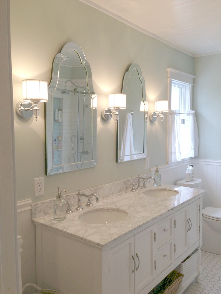 Master Bath Carrera Sherwin Williams Sea Salt Bead