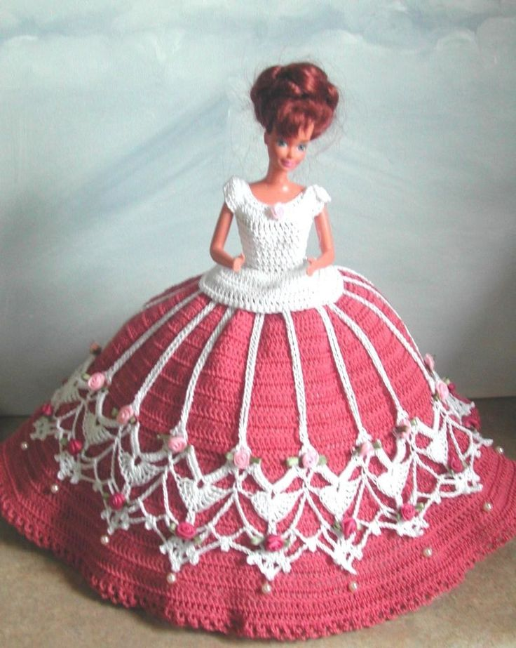 CROCHET FASHION DOLL PATTERN-#506 ROSES & PEARLS #ICSORIGINALDESIGNS