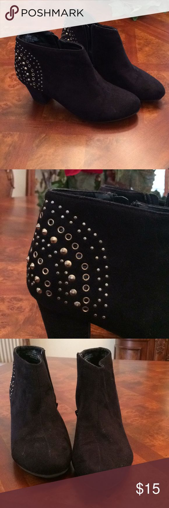 Ladies Black Suede Booties. Excellent condition, zipper on sides. Decorative brass studs at heels. 2 1/2 inch heel. Please note that these are 9 WIDE. Lane Bryant Shoes Ankle Boots & Booties