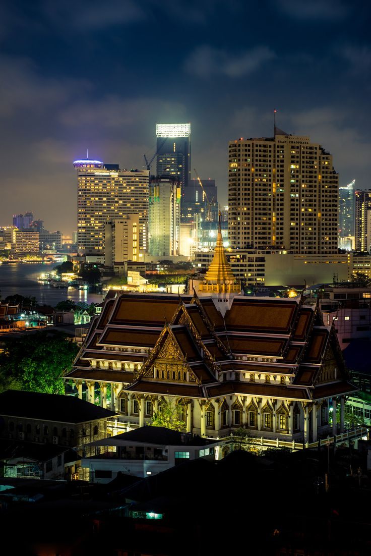 Old and new - Taken during our last night in Bangkok. Photo taken from the roof of our hotel with a view of magnificent city of Bangkok.