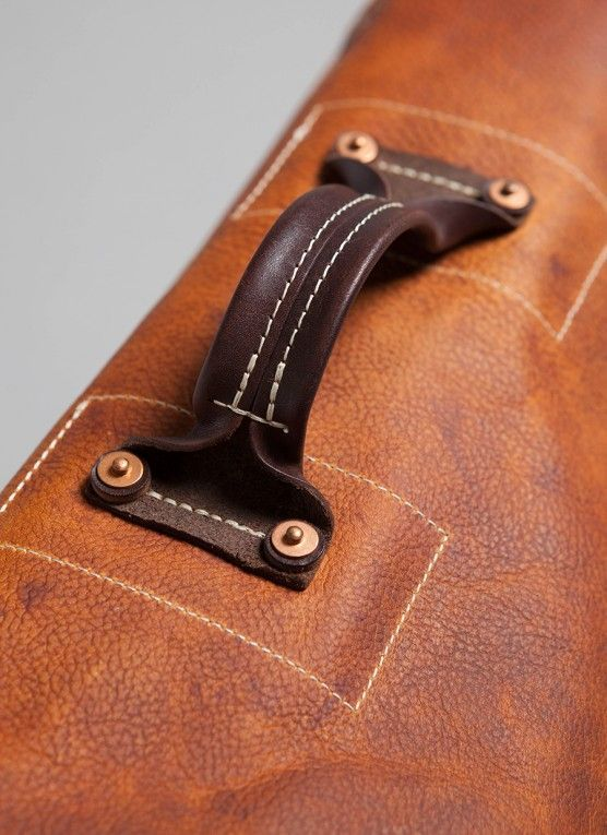 Hand made messenger bag crafted in hand cut tobacco leather in Tennessee.: