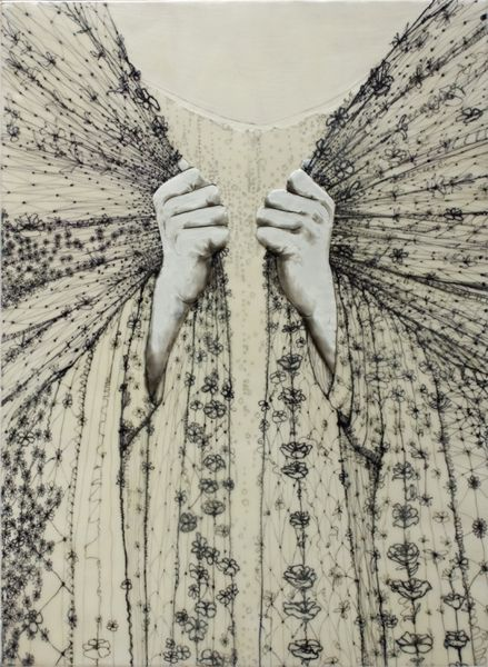 """Andrea Benson,""""Repair"""", 2008. Encaustic on wood panel with paper and drawing, 15"""" x 20"""""""