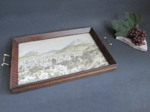 European Tapestry Mahogany Tray. Victorian Serving Tray With Tapestry Under Glass. by VintageandMain