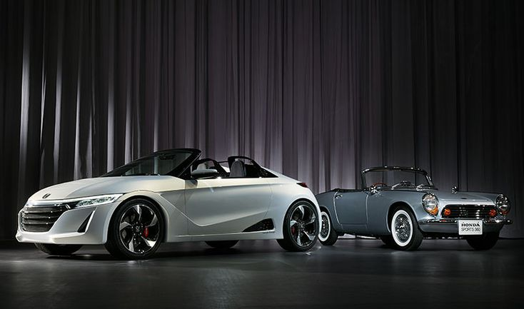 """2013 Honda exhibit """"Human-Centric - The roots and now of Honda Design. Shown are the S660 concept and the original Sports 360."""