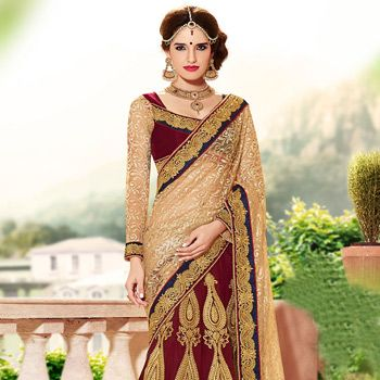 Maroon Net and Faux Georgette Lehenga Style Saree with Blouse