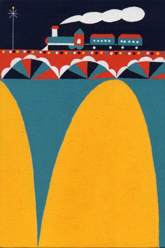 Train and bridge : Illustration by Matsue Maiko. 朝もやをぬけて(2013)