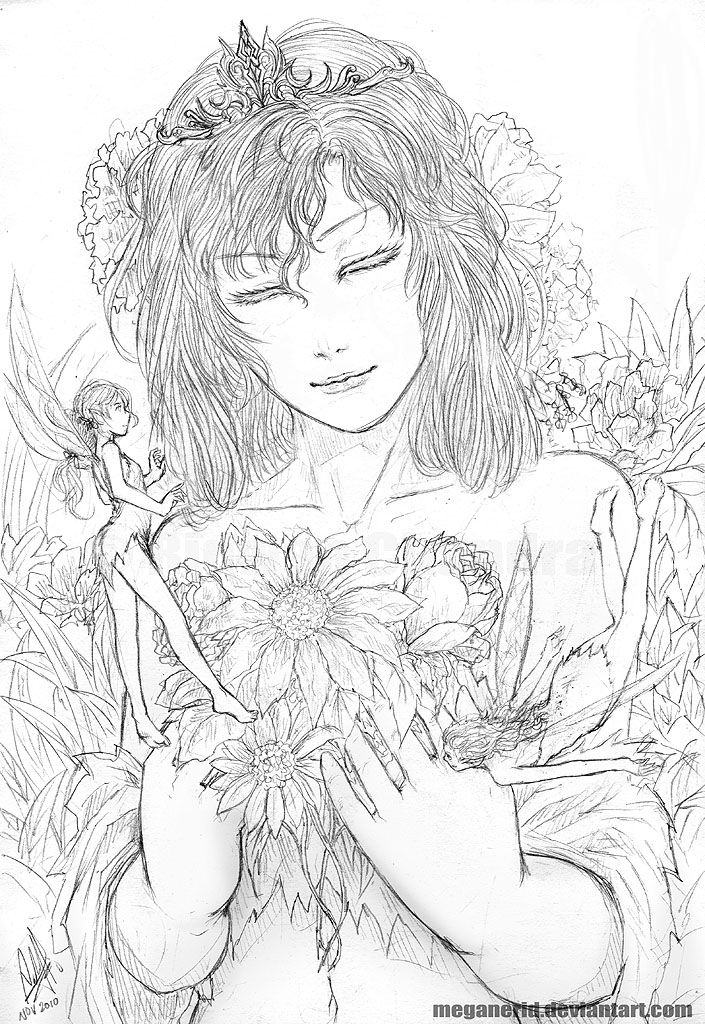 flower fairies i just wanted to draw a girl or a princess i guess with flowers and fairies done some time ago i just had the chance to finish cleanin
