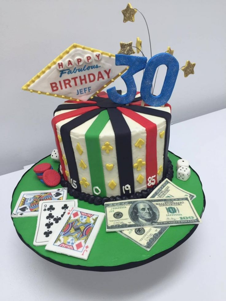 Vegas themed 30th birthday party! Check out all the fun DIY decor, and this awesome cake by Sweet Josephine's bakery! #vegasparty