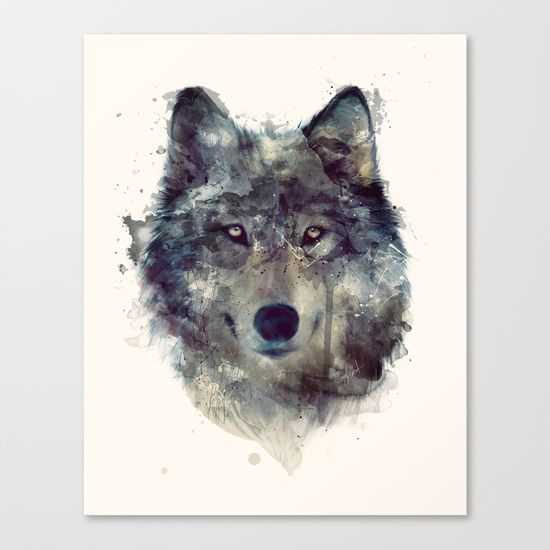 Wolf // Persevere  Canvas Print by Amy Hamilton - $85.00