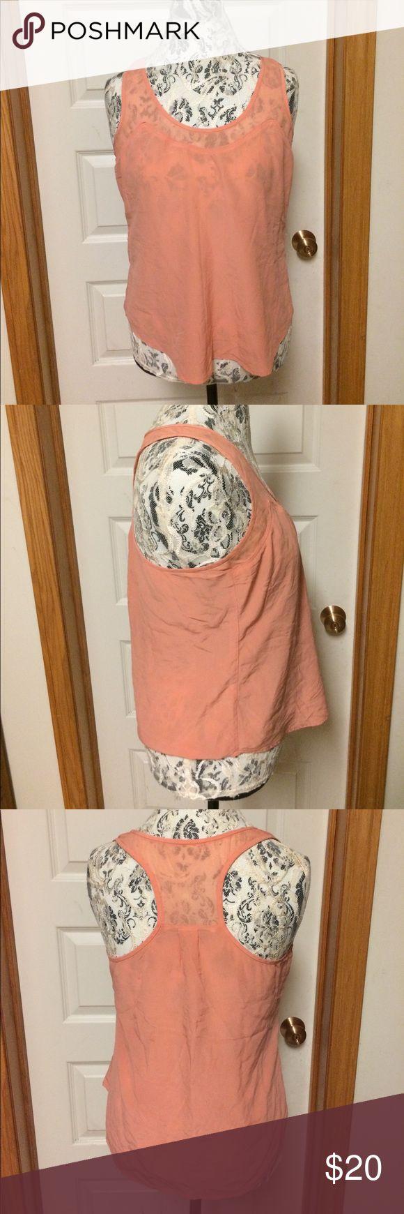 Trina Turk silk tank Transparent salmon pink tank top, silk.  Tiny stain on back. Trina Turk Tops Tank Tops