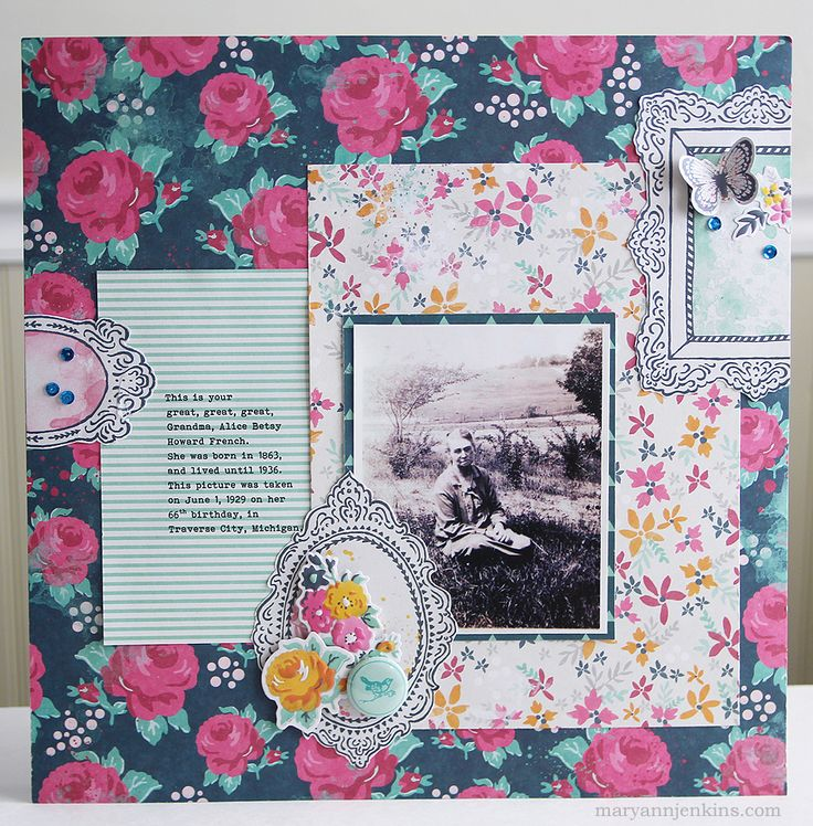 Great, Great, Great Grandma - Scrapbook.com - Curious how to scrapbook vintage photos? You don't always have to use ancestral themed products. These beautiful floral We R Memory Keepers items from the Inked Rose collection highlight a vintage photo perfectly.
