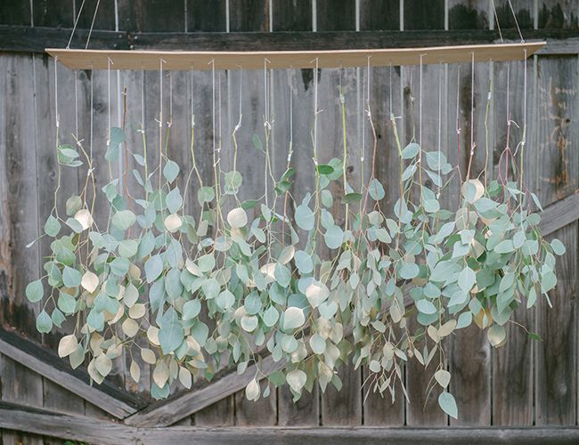 hanging eucalyptus chandelier // fun wedding diy project