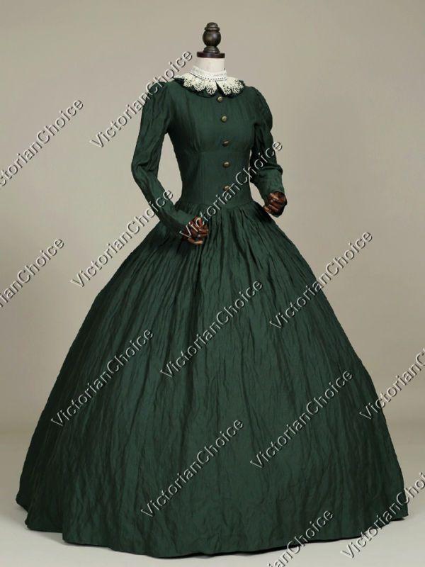 Victorian Gothic Civil War Day Dress Gown Theater Reenactment Punk Costume 316
