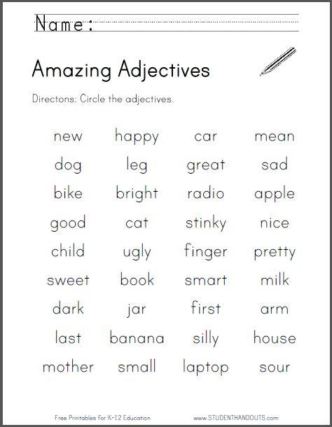 amazing adjectives worksheet free to print pdf file primary grades pinterest. Black Bedroom Furniture Sets. Home Design Ideas