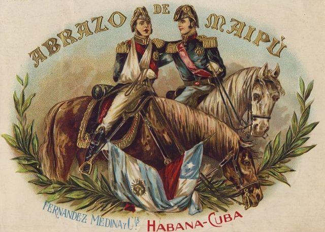 Leaves Set Up Abrazo de Maipu entre los Generales San Martin y Bernardo O'Higgins en Abril 5 1818