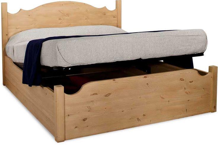 Letto contenitore rustico Cortina, in legno massello di pino di Svezia ...