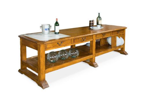 I Want This Massive Pine 4 Drawer Kitchen Island 8 Feet Long Marble Insert Top Cocina