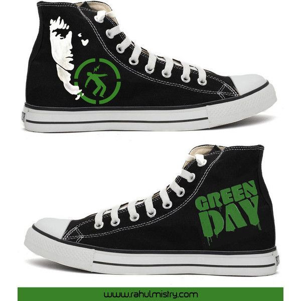 Green Day Warning Handpainted Converse Shoes ($95) ❤ liked on Polyvore featuring shoes, green shoes, converse footwear, acrylic shoes, lucite shoes and star shoes