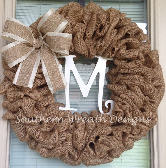Burlap Initial Wreath with Bow by SouthernWreathDesign on Etsy, $55.00