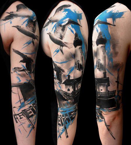 Lighthouse and seagull tattoo  Buena Vista Tattoo Club