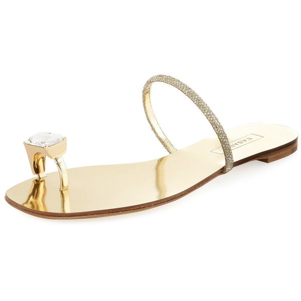 Casadei Women's Jewel Toe-Loop Sandal - Gold - Size 35 ($239) ❤ liked on Polyvore featuring shoes, sandals, gold, toe loop sandals, metallic flat sandals, metallic sandals, flat shoes and metallic flats