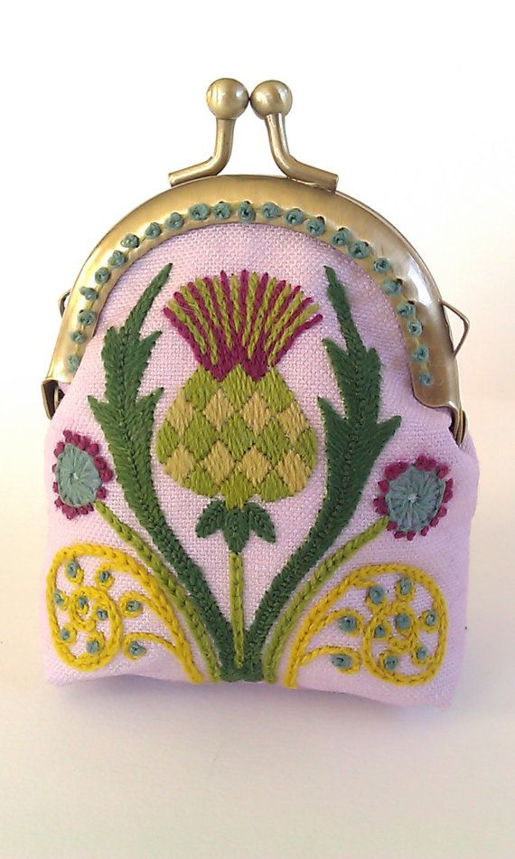Kit  Thistle Coin Purse Crewel Embroidery Project by thistledew4u, $25.00 Quite Lovely.. :))