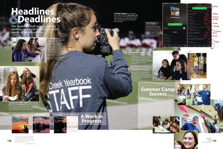 Timber Creek High School, Fort Worth, TX 2017 yearbook staff spread
