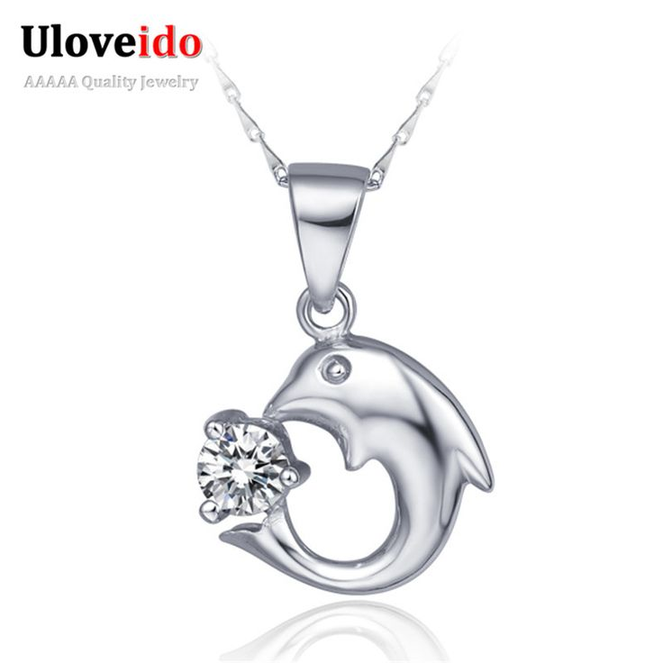 Find More Pendant Necklaces Information about Dolphin Crystal Pendant 925 Sterling Silver Women Necklace Cubic Zirconia Jewelry Accessories Necklaces 2016 Love Ulove N271,High Quality necklac,China necklace peace Suppliers, Cheap necklace acrylic from Uloveido Official Store on Aliexpress.com