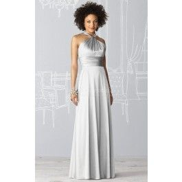 A-line Halter Charmeuse Floor-length Silver Bridesmaid Dresses(BD237)_Leave as is. colour would look great with RW dress