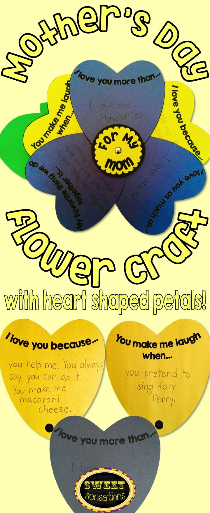 This Mother's Day Flower craft for school and home is sure to delight mom and make her feel appreciated on her special day!  Makes a beautiful garden bulletin board display and students can take it home for a special keepsake that mom will want to keep!