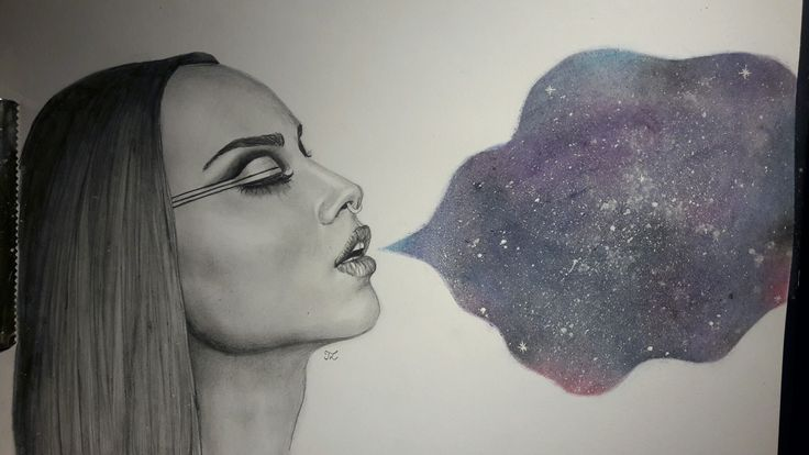Artwork by LauraT. Pencil drawing. Inspired by Zella Day. Galaxy. Smoke.