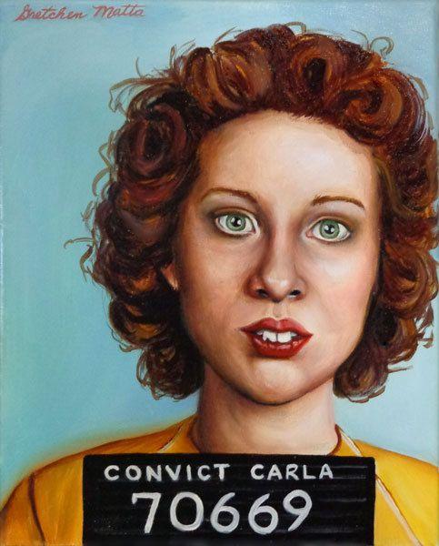Convict Carla  Original Portrait Oil by GretchenMattaStudio