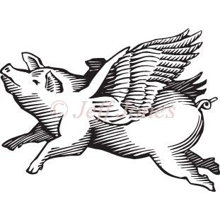 When Pigs Fly Stock Illustration Icon Black and White Vector Art