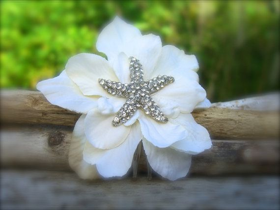 Beach Wedding Starfish Floral Hair Fascinator-IVORY-Beach Wedding, Starfish Wedding, Bridal Hair Clip, Mermaid Hair, Vegan Friendly Starfish