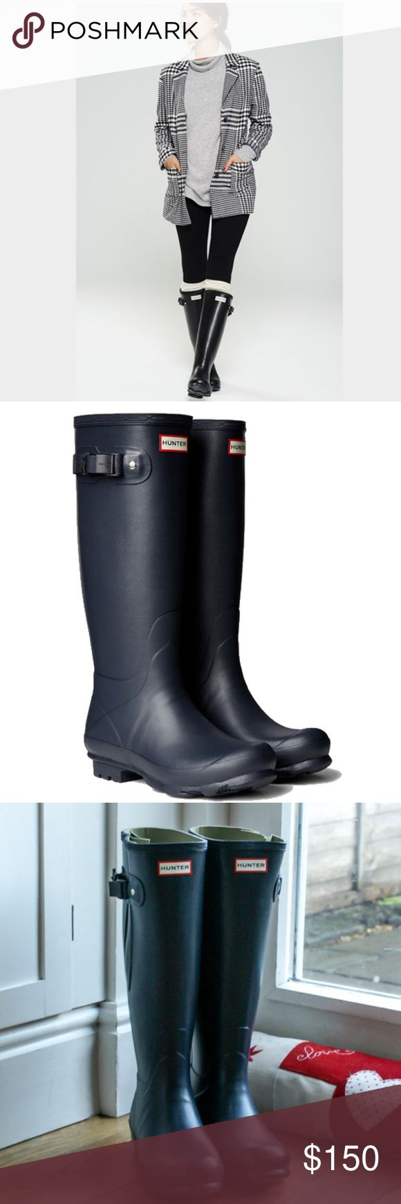 """NWT Navy Hunter Boots The classic rubber rain boot offers durable wet-weather protection and features a textile lining for added comfort. An adjustable buckle at the top adds a stylish touch, while the textured rubber sole provides enhanced traction. 16"""" boot shaft; 16"""" calf circumference. Hunter Shoes"""