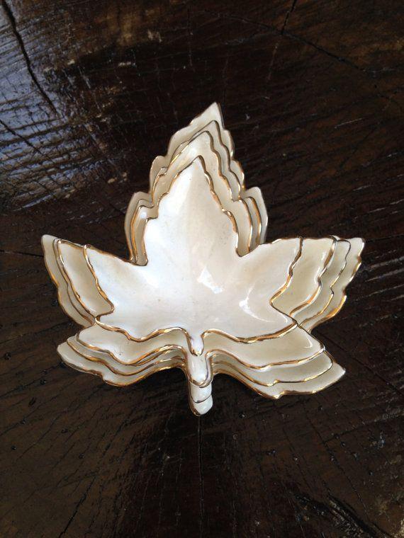 Stacking Maple Leaf Dish Set White Glazed Ceramic With