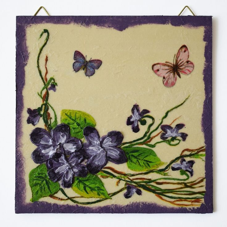 Purple flowers (Lila virágok) - 16 x 16  cm, 2017, https://www.vivienholl.com/termek/lila-viragok/ #paverpol  #napkin #szalvéta #flowers #flower #virágok #virág #butterfly #butterflies #pillangó #pillangók #pentart #vivienholl