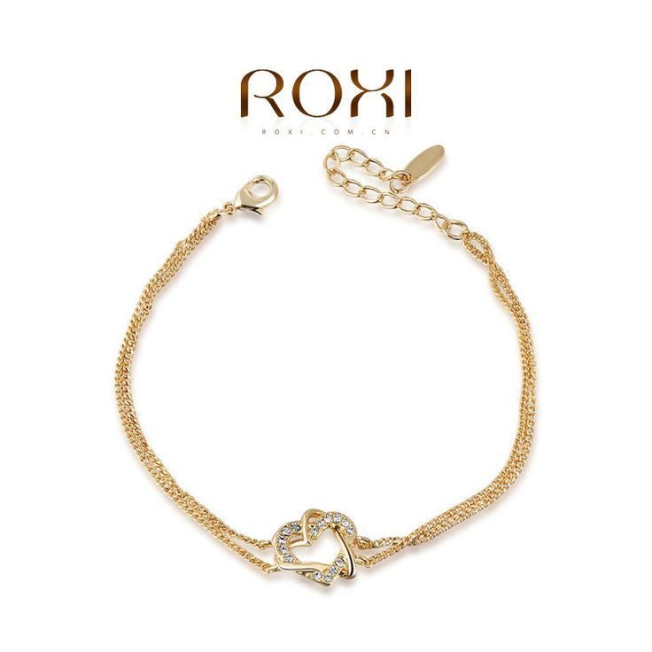 Roxi Austrian Crystal goud dubbel hart kronkelende armband met element Austrian Crystal armband