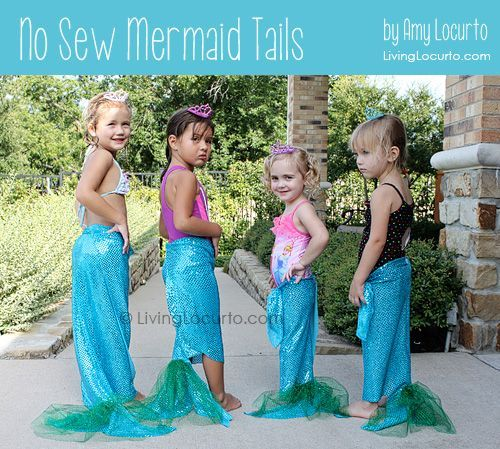 How to make No Sew Mermaid Tails by Amy Locurto at LivingLocurto.com. A Fun DIY Party Idea!