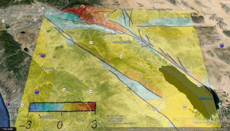 Re-thinking Southern California earthquake scenarios in Coachella Valley, San Andreas Fault - New 3D numerical modeling that captures more geometric complexity of an active fault segment in southern California than any other suggests that the overall earthquake hazard for towns on the west side of the Coachella Valley such as Palm Springs may be slightly lower than previously believed. Credit: Courtesy Google Earth and UMass Amherst