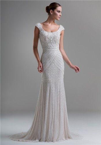 Beaded sheath wedding gown with scoop neckline // KYM15 from Ysa Makino