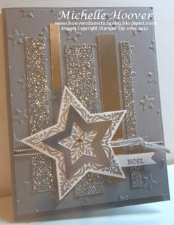 Michelle Hoover's Bright & Beautiful Silver Accents card - silver, glimmer paper, foil, stars, holiday, cards, christmas, stampin up