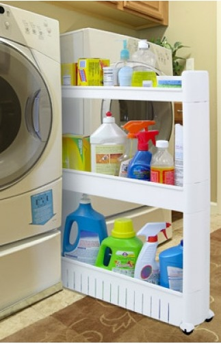 The Slide Out Storage Tower Keeps items organized at your fingertips.  This 3-tier cupboard on wheels' is great for the kitchen, bathroom and laundry room. #EasyStorage