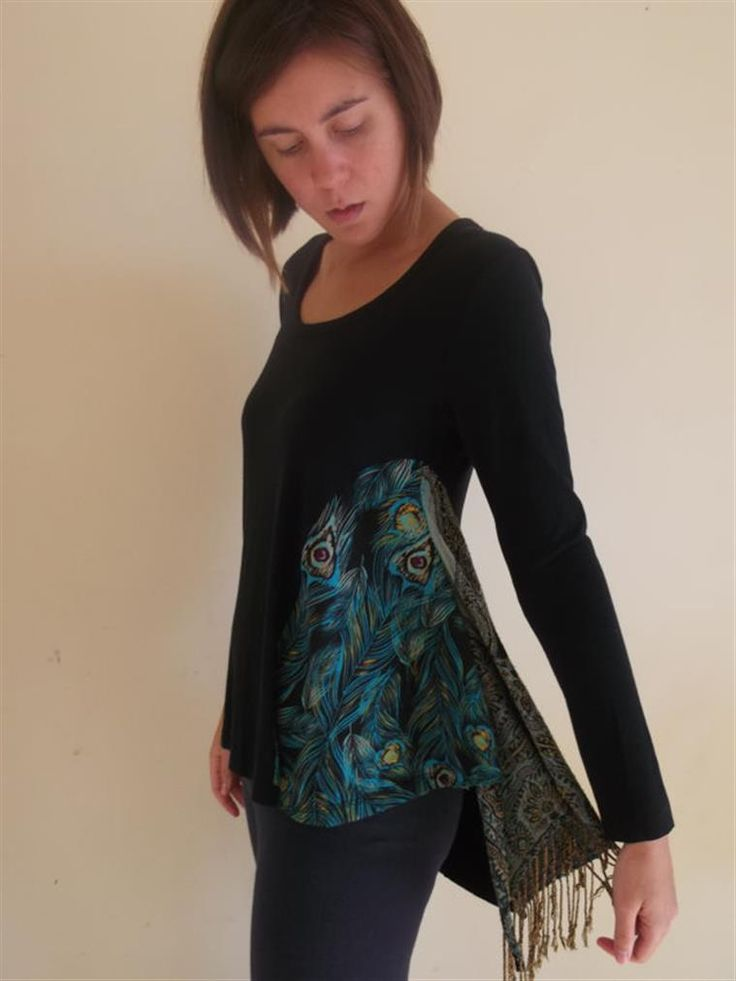 scarf sewn into side cut-out: remedy for too tight Ts