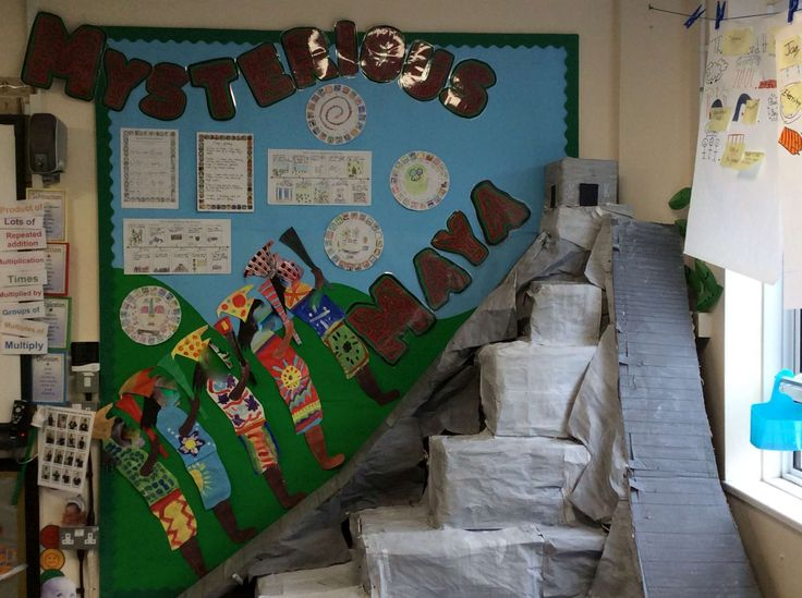 Year 4 Mysterious Maya classroom display. 3D Mayan temple (Geography focus). Mar-16.